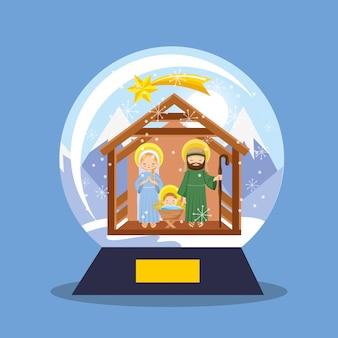 キリスト降誕シーン雪ガラスグローブ