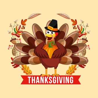 月桂樹の花輪の感謝祭のカード上のカボチャとトルコ漫画