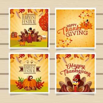 幸せな感謝祭のグリーティングカード