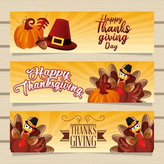 幸せな感謝祭グリーティングバナーセット