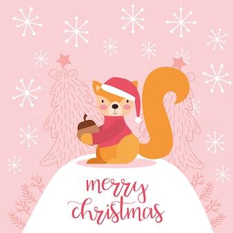 かわいいリスのメリークリスマスカード。