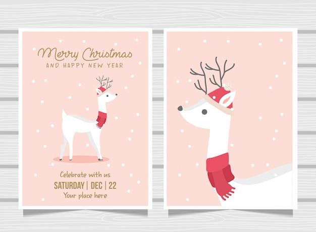かわいい鹿とピンクのクリスマスカード。