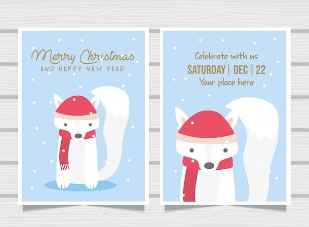 かわいいキツネとピンクのクリスマスカード。