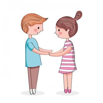 手を繋いでいるカップル漫画