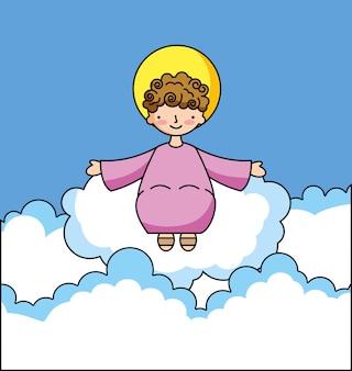 雲の漫画の神聖な赤ちゃんイエス