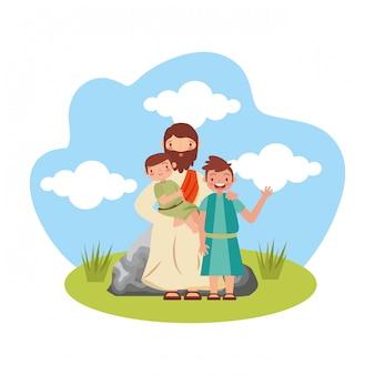 イエスキリストと子供たち。