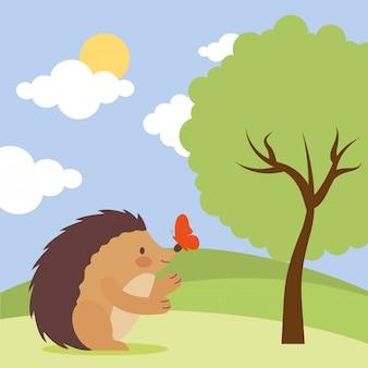 Милый мультфильм животных в природе