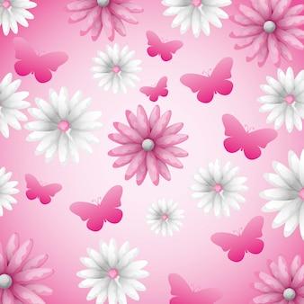 花と蝶の背景