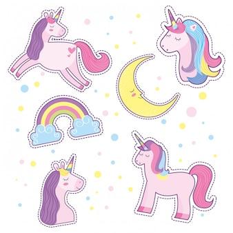 かわいいユニコーン月と虹