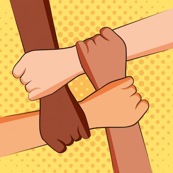 Четыре руки держат друг друга