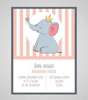 かわいい象のベビーシャワーカード