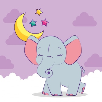 かわいい灰色の赤ちゃんゾウ