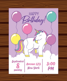 Открытка на день рождения с единорогом