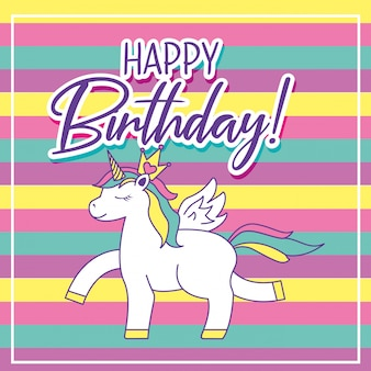 ユニコーンと誕生日カード