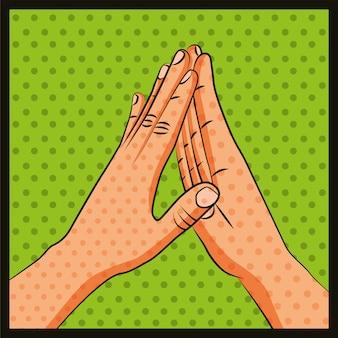 Дружба руки приветствие поп-арт
