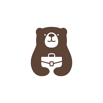 Медведь работа логотип вектор значок иллюстрации