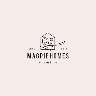 カササギの家の家のロゴのベクトルのアイコンの図