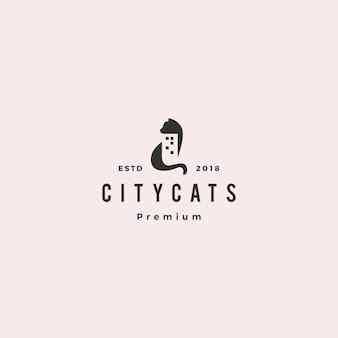 Кошка город здание дома дом логотип вектор значок иллюстрации