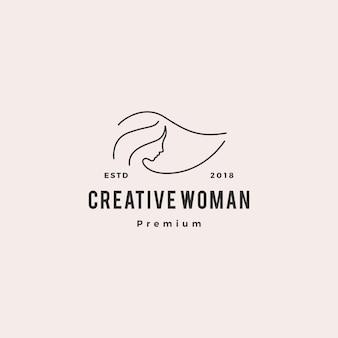 女性ロゴベクトルアイコンイラストラインアウトラインモノライン