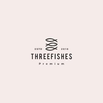Каракули тройной три рыбы логотип вектор значок иллюстрации