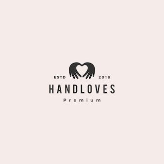 手の愛のロゴのベクトル図