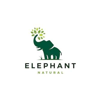 象の葉の葉の木のロゴ