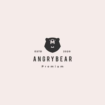 Злой медведь логотип битник старинные ретро значок иллюстрации