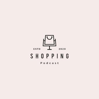 Шоппинг подкаст логотип хипстер ретро винтаж значок для магазина блог видео канал просмотра влог