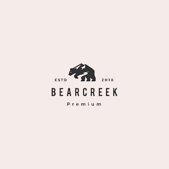 Медвежий ручей с логотипом хипстер ретро винтаж