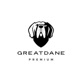 グレートデーン犬のロゴアイコンイラスト