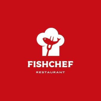 魚シェフ帽子ロゴアイコンイラスト