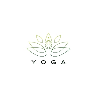 Иллюстрация значка логотипа лотоса листьев йоги