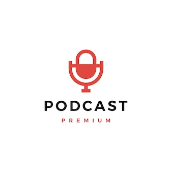 Микрофон подкаст логотип значок иллюстрации