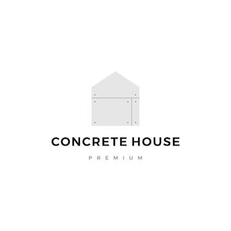 Выставленный бетонный дом значок с логотипом