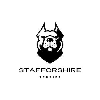 アメリカンスタッフォードシャーテリア犬の頭の顔のロゴアイコン