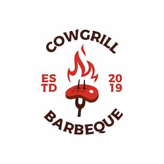 Жареный стейк гриль огонь пламя логотип значок