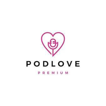 Микрофон любовь значок подкаста логотип