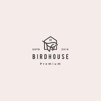 Птица дом логотип битник ретро старинные значок иллюстрации