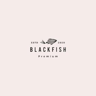 Черная рыба логотип битник ретро старинные значок иллюстрации