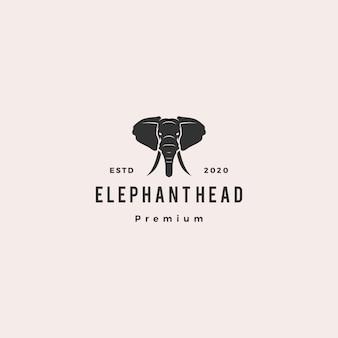 Голова слона логотип битник ретро старинные значок иллюстрации