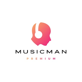 ヘッドフォンのロゴと音楽男人間の頭