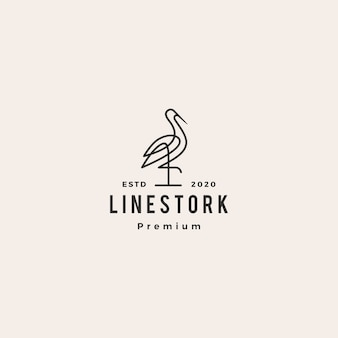 Аист логотип линии искусства