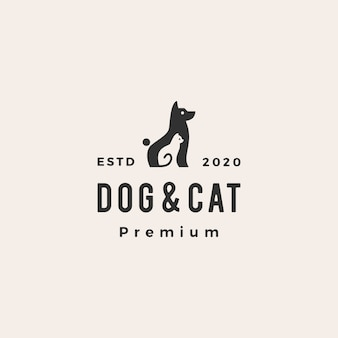 犬猫ペットヒップスターヴィンテージロゴアイコンイラスト
