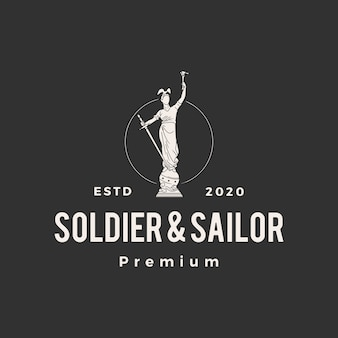 兵士と船乗り像のヒップスターヴィンテージロゴアイコンイラスト