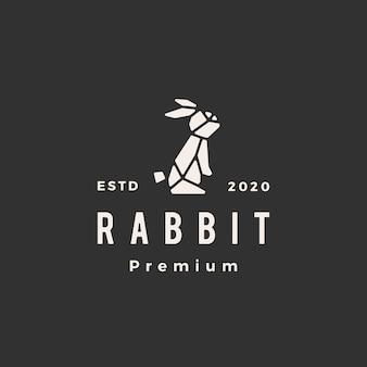幾何学的なウサギうさぎバニーヒップスタービンテージロゴアイコンイラスト