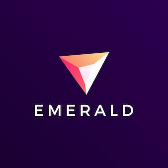 エメラルドの宝石ロゴアイコンイラスト