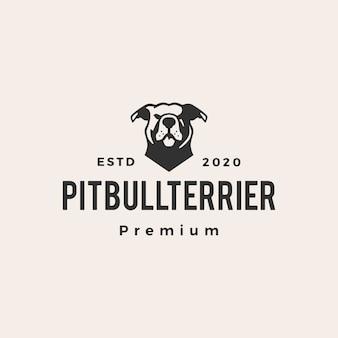 Американский питбультерьер битник винтажный логотип значок иллюстрации