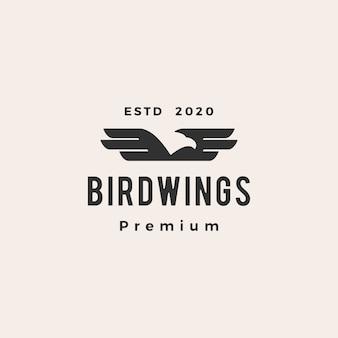鳥の翼のヒップスターヴィンテージロゴアイコンイラスト