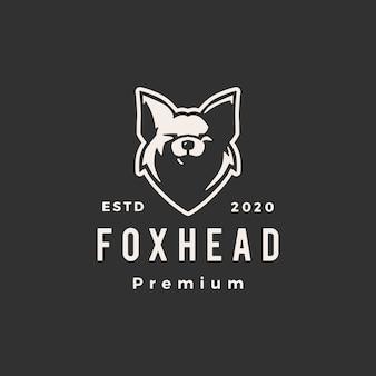 Фокс голова битник старинный логотип значок иллюстрации