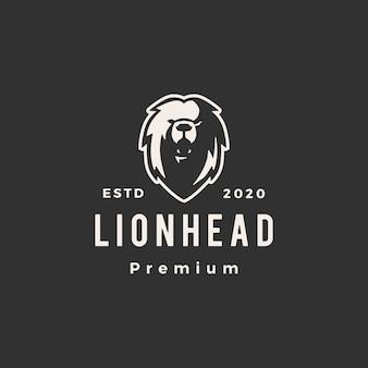 Голова льва битник старинный логотип значок иллюстрации